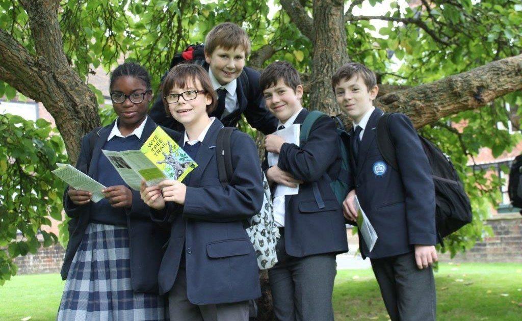 Schoolchildren on the Wye tree Trail